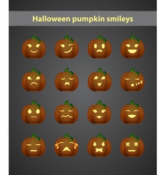 set of emoticons in the form of pumpkins for vector image