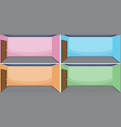 set of empty room different color vector image