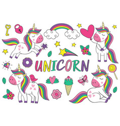 set of isolated cute unicorn and elements part 1 vector image