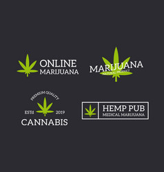 Set of retro vintage hemp cannabis logo or vector