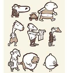 Set of the Funny Creatures vector image