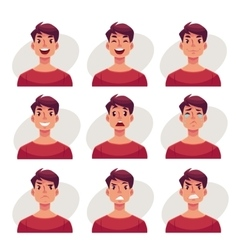 Set of young man face expression avatars vector image vector image