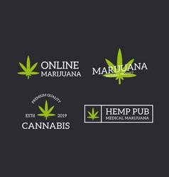 set retro vintage hemp cannabis logo or vector image