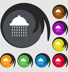 Shower icon sign symbol on eight colored buttons vector