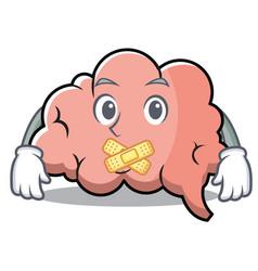 silent brain character cartoon mascot vector image