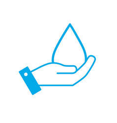 silhouette hand with natural water drop to vector image