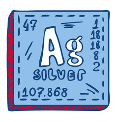 silver ag icon hand drawn style vector image