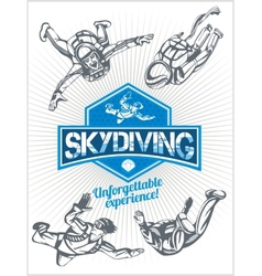 Skydiving set - emblem and skydivers vector image