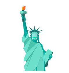 Statue liberty wearing protective medical mask vector