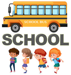 student character with school bus vector image