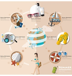 Summer And Travel Holiday Vacation Flat Icon Set vector image