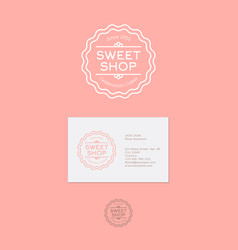 sweetshop logo or celebration cakes emblem vector image