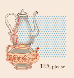 Tea leaflet kettles design elements vector