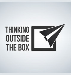 Think outside the box concept with frame plane vector