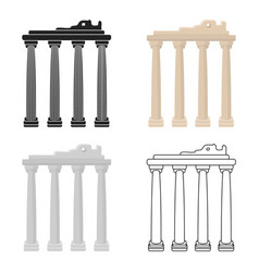 turkish ruins icon in cartoon style isolated on vector image