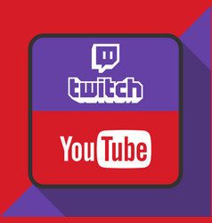 Twitch and youtube logo with background ima vector