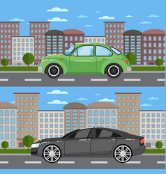 Vintage car and comfortable sedan in cityscape vector