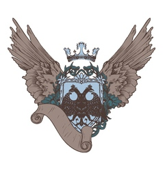 vintage crest with scroll vector image