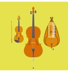 Violin violin bow cello and hurdy-gurdy vector