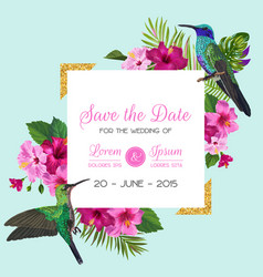 Wedding invitation with blooming tropical flowers vector