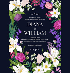 wedding invitation with garden flowers vector image