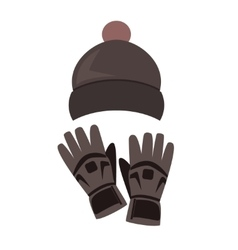 Winter hat and gloves on white background vector image