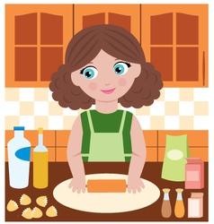 Woman prepares dough vector