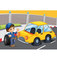 A boy standing in front of a car with a flat tire vector image vector image