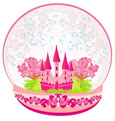 a pink castle inside the dome vector image