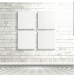 blank canvases on brick wall 1503 vector image