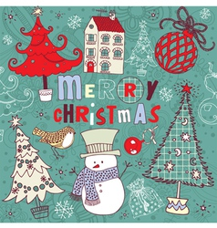 Doodle Christmas Card vector image vector image