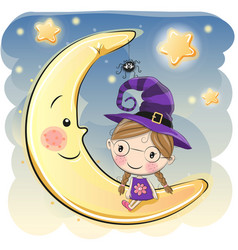 halloween with cute witch vector image vector image