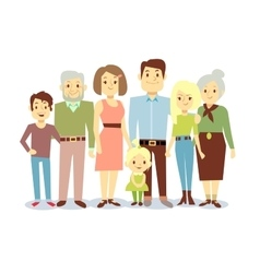 Happy family portrait flat characters vector image