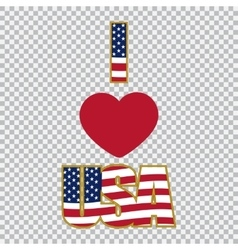 Inscription I love the USA on a plaid background vector image