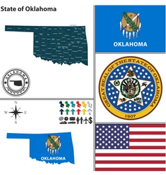 Map of Oklahoma with seal vector image