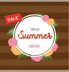 Summer flowers frame or summer floral design vector