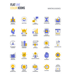 Flat line multicolor icons design-marketing and vector