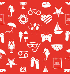 july month theme set of simple icons red seamless vector image