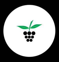 raspberry fruit simple black and green icon eps10 vector image