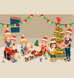Winter christmas party with kids people vector