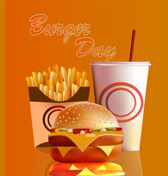banner burger fries cola vector image vector image
