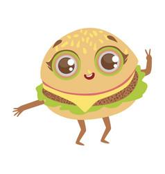 burger sandwich cute anime humanized cartoon food vector image vector image