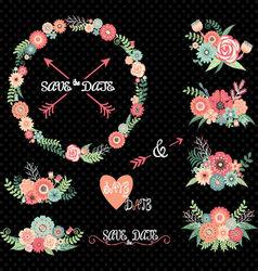 Chalkboard Wedding Floral Elements vector image vector image