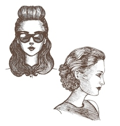 girls with retro hairstyle vector image