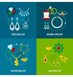 Jewelry icon flat set vector image vector image