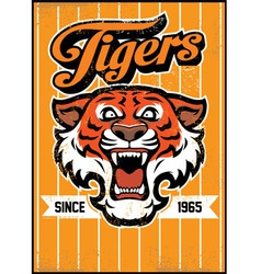 retro tiger mascot design vector image vector image