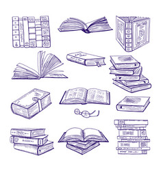 set of different books hand drawn sketch vector image