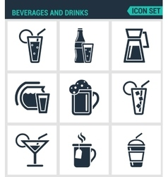 Set of modern icons Beverages and drinks vector image