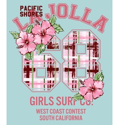 La Jolla Girl surfing vector image vector image