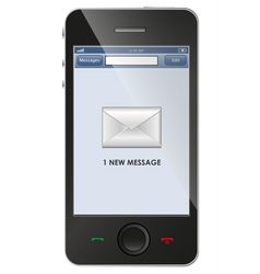 New message icon on smart phone vector image vector image
